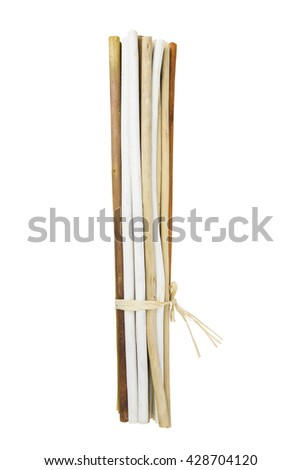 Bundle of twigs isolated over white