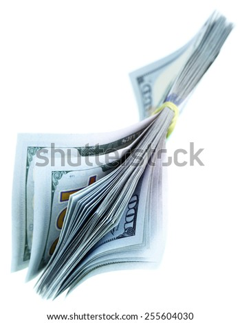 Bundle of US dollars isolated over the white background - stock photo
