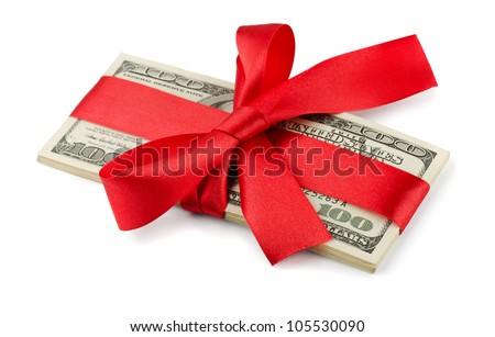 Bundle of US dollars tied with red ribbon isolated on white - stock photo