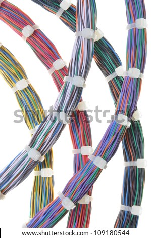 Bundles of network cables with cable ties, structured cabling