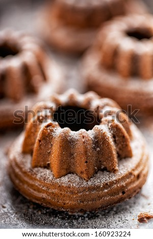 Bundt cake dusted with powdered sugar - stock photo