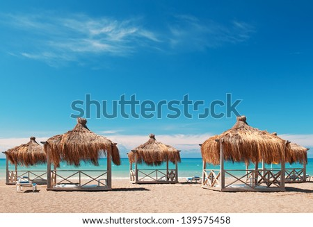 bungalows for a holiday in the seaside resort - stock photo