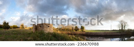 bunker pillbox from second world war in Rye. Army fortification on military canal in England - stock photo