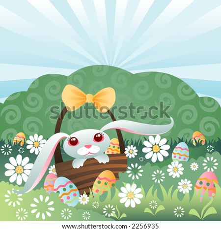 Bunny in a basket, hiding colorful Easter eggs in the grass and flowers - stock photo