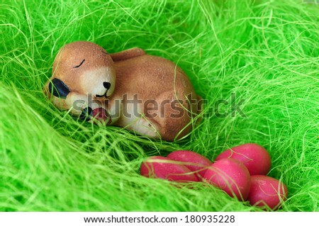 bunny is sleeping after the paint Easter eggs in the grass