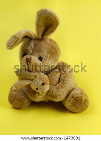 Bunny rabbit cuddly toy. Furry, cuddly, lovable little rabbit toys. - stock photo
