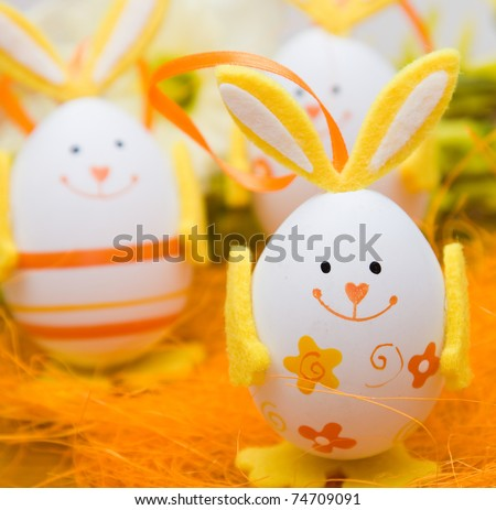 Bunny shaped easter eggs - stock photo