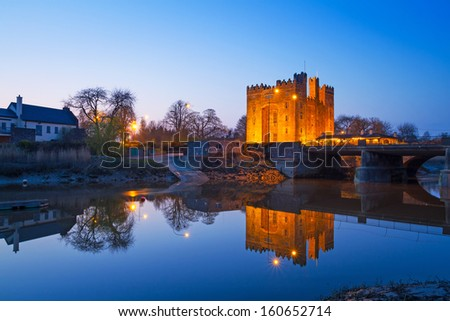 Bunratty castle at night in Co. Clare, Ireland - stock photo