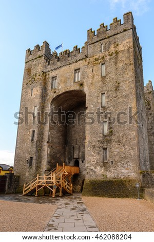 Bunratty Castle (Castle at the Mouth of the Ratty), a 15th century tower house in County Clare, Ireland. National Monument of Ireland