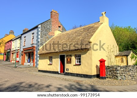 BUNRATTY, IRELAND - MARCH 28: 19th Old century street in Bunratty Folk park village in county Clare, popular tourist attraction - Ireland. March 28, 2012 in Bunratty Folk Park, Co. Clare -  Ireland. - stock photo