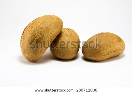 Buns isolated on white background. Bakery theme, home hand made food.
