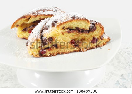 Buns with chocolate and cranberries, homemade - stock photo