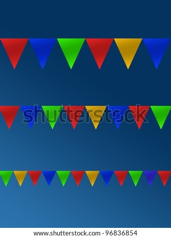 Bunting flags isolated against a blue sky - stock photo