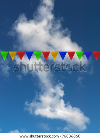 Bunting flags isolated against a blue sky