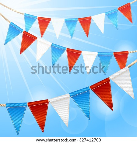 Bunting party flags garlands isolated on white background - stock photo