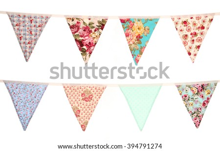 Bunting white background cut out - stock photo