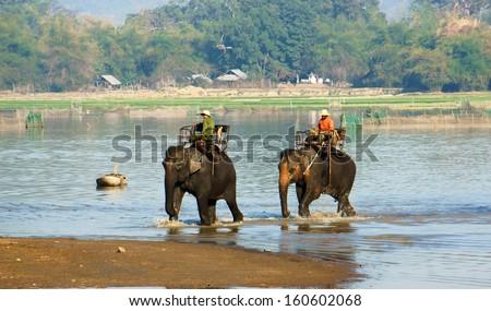 BUON ME THUOT, VIET NAM, FEBRUARY 18: Mahout riding elephant across the lake in Buon Me Thuot, Viet Nam on February 18, 2013