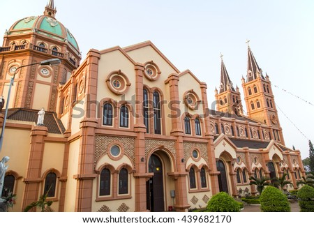 Buon Me Thuot, Vietnam - Mar 30, 2016: Buon Ho church in Buon Me Thuot province, central highland of Vietnam