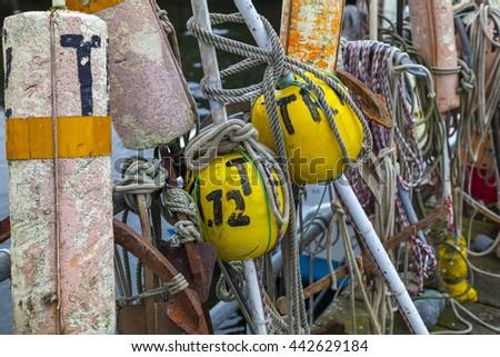 Buoys for fishing boats - stock photo