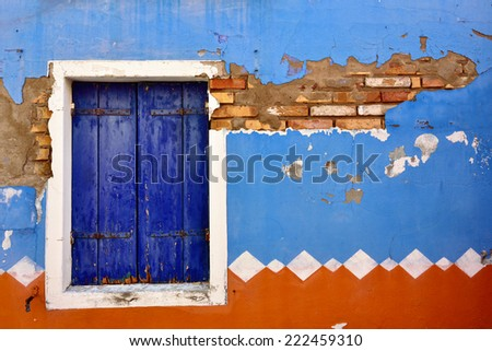 Burano island, Venice. Typical window. Colorful houses island and landmark of Veneto region, Italy - stock photo