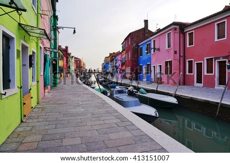 BURANO, ITALY -10 MARCH 2016- Located 4 miles (7 kilometers) from Venice, the island archipelago of Burano in the Venetian lagoon is famous for its charming colorful houses.