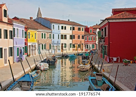 Burano (Venice island) colorful town in Italy  - stock photo