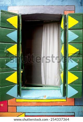 Burano window - stock photo