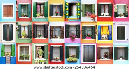 Burano windows - stock photo