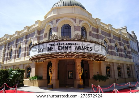 BURBANK - APR 26: Daytime Emmy Awards sign at the 42nd Daytime Emmy Awards Gala at Warner Bros. Studio on April 26, 2015 in Burbank, California - stock photo