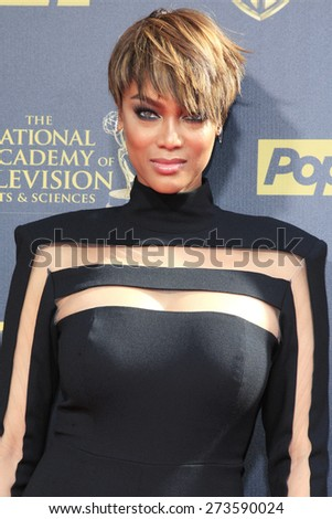 BURBANK - APR 26: Tyra Banks at the 42nd Daytime Emmy Awards Gala at Warner Bros. Studio on April 26, 2015 in Burbank, California - stock photo