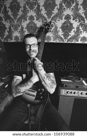 BURBANK, CA - MAY 01: Eagles of Death Metal singer/frontman, Jesse Hughes poses for us, while recording their new record at Pink Duck Studios in Burbank, CA on May 1, 2008.