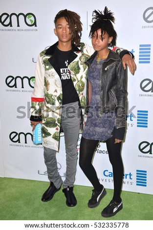 BURBANK, CA. October 22, 2016: Jaden Smith & Willow Smith at the 26th Annual Environmental Media Awards at Warner Bros. Studios, Burbank.