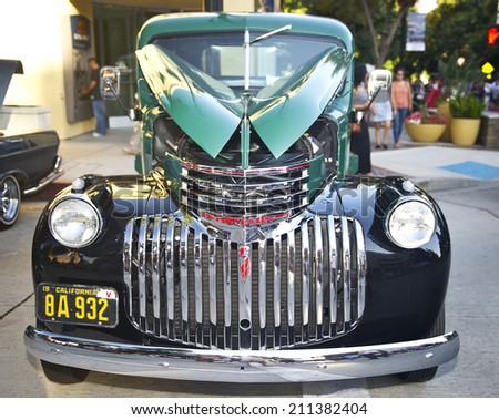 BURBANK/CALIFORNIA - JULY 26, 2014: 1941 Chevy Flatbed owned by Al Osterich at the Burbank Car Classic July 26, 2014, Burbank, California USA  - stock photo