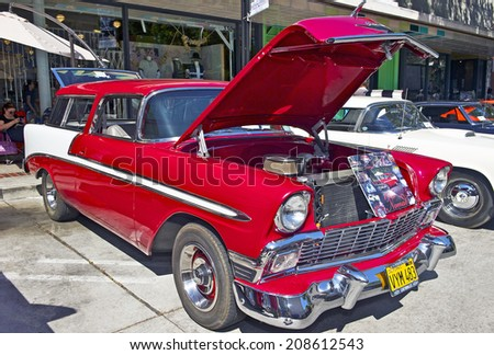 BURBANK/CALIFORNIA - JULY 26, 2014: 1956 Chevy Nomad owned by Steve Borden at the Downtown Burbank Car Classic July 26, 2014 Burbank, California USA