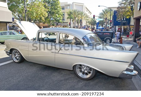 BURBANK/CALIFORNIA - JULY 26, 2014: 1957 Chevy 150 owned by Charles Slezak at the Burbank Car Classic July 26, 2014, Burbank, California USA  - stock photo