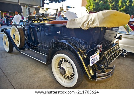 BURBANK/CALIFORNIA - JULY 26, 2014: 1931 Chevy Phaeton owned by Kristopher Gregg at the Burbank Car Classic July 26, 2014, Burbank, California USA - stock photo