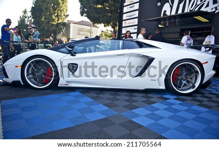 BURBANK/CALIFORNIA - JULY 26, 2014: 2014 Lamborghini owned by Giovanna Gianelle at the Burbank Car Classic July 26, 2014, Burbank, California USA - stock photo