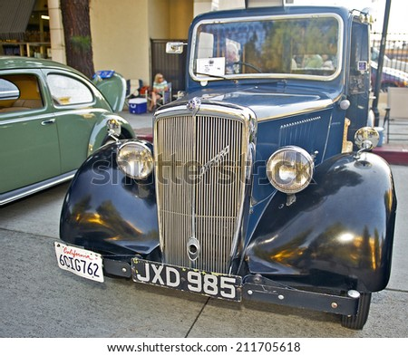 BURBANK/CALIFORNIA - JULY 26, 2014: 1947 Nuffield Oxford Taxi owned by Steven Pearce at the Burbank Car Classic July 26, 2014, Burbank, California USA - stock photo
