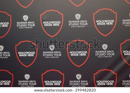 BURBANK - JUL 14: Logo, Hollywood Studio Tour at the Warner Bros. Studio Tour Hollywood Expansion Official Unveiling, Stage 48: Script To Screen at WB Studios on July 14, 2015 in Burbank, CA - stock photo