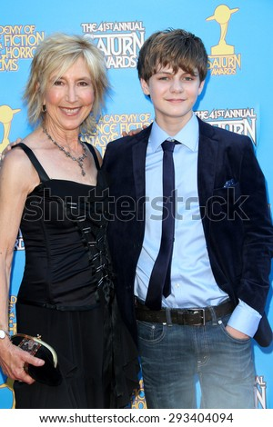 BURBANK - JUNE 25: Lin Shaye and Ty Simpkins arrive at the 41st Annual Saturn Awards on Thursday, June 25, 2015 at the Castaway Restaurant in Burbank, CA. - stock photo