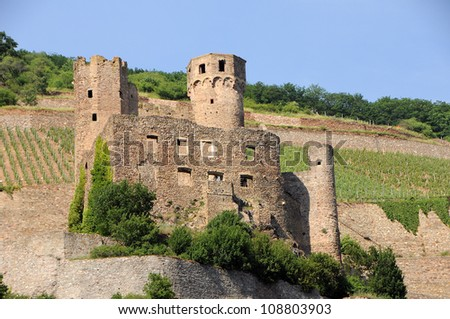 Burg Ehrenfels on the bank of river Rhine in Germany