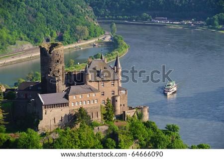 Burg Katz und der Rhein - stock photo