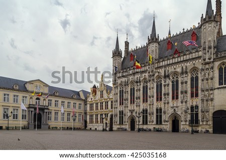 Burg square with town hall in historic center of Bruges, Belgium - stock photo