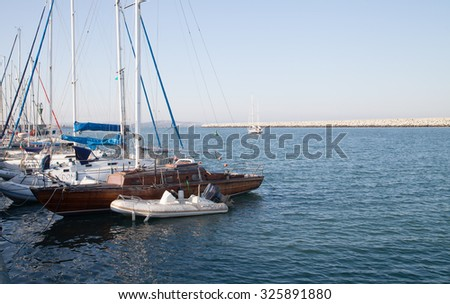 Burgas - August 28: Yachts, boats and lighthouse in the port of August 28, 2015 Bourgas, Bulgaria