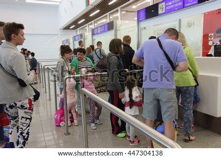 Burgas, Bulgaria - June 19, 2016: people prepare the documents in the customs control zone
