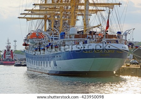 Burgas, Bulgaria - May, 20.2016 -Royal Clipper moored in the port of Burgas.Royal Clipper is listed in Guinness World Records as the largest square-rigged ship in service.