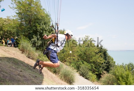 Burgas - July 24: Accuracy landing competition paragliding - start, July 24 to 26, 2015 to July 24, 2015, Burgas, Bulgaria