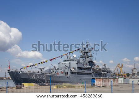 Burgas - July 9: Turkish military frigate in the port of July 9, 2016, Burgas, Bulgaria