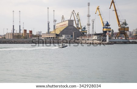 Burgas - October 27: View of a small boat harbor, cranes and buildings of October 27, 2015, Burgas Bulgaria