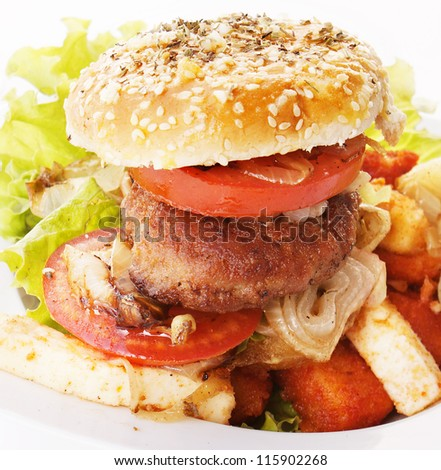 Burger and baked cheese - stock photo